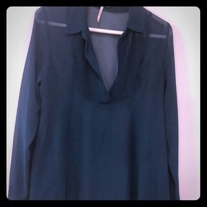 Free People teal sheer top Size Small